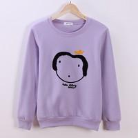 (Alice)flocking cartoon lady women's new style hoodies free cotton sweatshirt 4 colors fleece inside winter sweaters