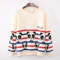 (Alice)2014 top good loose-fitting sweatshirt color stripes many panda baby calico shirt women good fleece sweatshirts