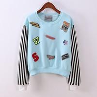 (Alice)2014 winter fashion women cotton sweatshirt hoodies wide striped sleeve patch logo embroidery letter fleece