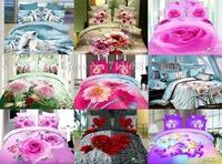 new bed linen 3D Bear Animal Romantick Sweetheart Rose Flower 4pcs queen/full comforter/duvet covers bedding sets Wholesale