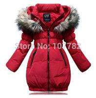 Retail 1 Pcs 2014Children Medium-Long Duck Down Thickening Outerwear Girls Winter Coat Jackets Girl's Down & Parka CoatsCC1510-B