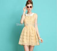 Summer Dress 2014 New Women's Dress Waist Beaded Ladies Big Plaid Sleeveless Dress Turn-down Collar Dress Female
