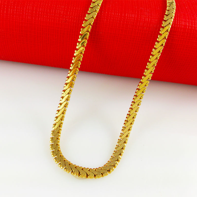 2014 New 24k Gold Flat Snake Chain Necklaces Free Shipping Party Accessories Fashion Men's Jewlery High Quality Wholesale B024(China (Mainland))