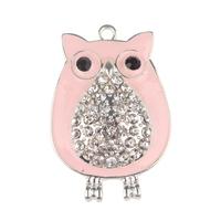 5pcs Pink Owl Rhinestone Pendant Chunky Necklace Beads, Rhinestone Owl Pendant for Bubblegum Necklace, Owl Charm