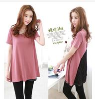 Retail Free shipping new plus size women clothing shirt short sleeve lace patchwork women tops t shirt