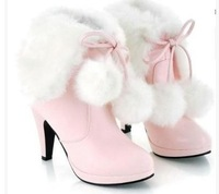 2014 new fashion Women's fur lovily boots , womens high heel snow boots for women