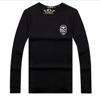Men's lycra cotton T-shirt New winter long sleeve round collar flocking cotton T-shirt men long sleeve T-shirt