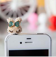 Wholesale Fashion Pearl Phone Accessories Cute Bowknot Rabbit Phone Dustproof plug SP101