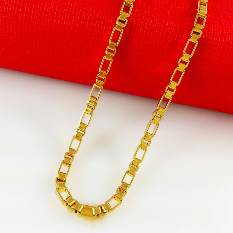 2014 New 24k Gold Necklaces Shiny Box Chain Free Shipping Hot Sale Fine Accessories Fashion Men