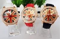 Fashion New Moveable Beads Watch UK Flag Woman Fashion Imitation Diamond Crystal Quartz Dress Watch wrist watch+freeshipping