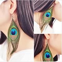 ED-003 wholesale fashion royal luxury national peacock feather all-match tassel dangle earrings