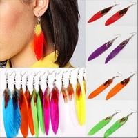 ED-004 New Fashion Jewelry Women/Girls Trendy Eardrop Goose Feather Dangle Earrings 11 Colors