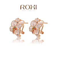 ROXI Free Shipping Fashion Statement Rose Earrings Best Gift For Girlfriend Pure Handmade Elegant For Women Party 2020022420
