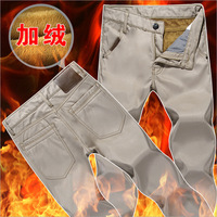 6 Colors men's keep warm fleece lined casual straight pants H830 winter pants for business man