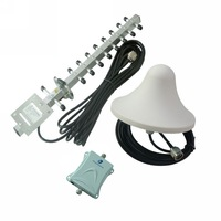 Mini DCS Repeater Set 70dB 1800mhz Cell Phone Mobile Signal Booster with Indoor and Outdoor Antenna 1000 square Meters