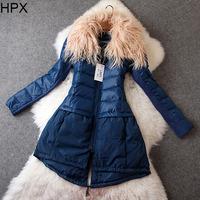 Women 2014 Autumn Winter Long Sleeve Fur Collar Zipper Slim Long Duck Down Coat,Ladies Brand Overcoat European American Style