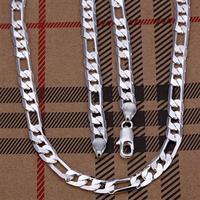 wholesale 5pcs/lot 925 silver 6mm Men Figaro Necklace 16 inch Free shipping.fashin chain jewelry