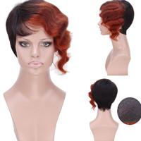 cheap wigs for women 100%human hair 1B/33/350color ombre three toned short wave wig wavy human hair cheap cute wigs