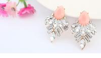 Pink geometric acrylic post earrings + acrylic beads + Free shipping!