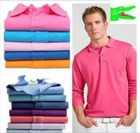 LA_*** Made in Peru EU Size men CLASSIC crocodile Polo/casual long sleeve pique cotton Polo/100% cotton Top shirts/NO IRON