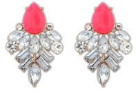 Rose geometric acrylic post earrings + acrylic beads + Free shipping!