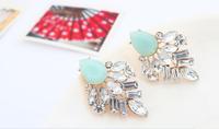 Light green geometric acrylic post earrings + acrylic beads + Free shipping!