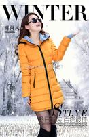 2015 wadded jacket female winter jacket women outerwear slim girl jacket medium-long cotton-padded jacket pink coats ladies