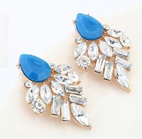 Blue geometric acrylic post earrings + acrylic beads + Free shipping!