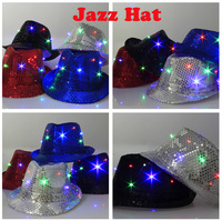 Christmas Gift Novelty  LED Flashing Fedora Hat With Sequins Light Up Cap Jazz Hat For Party Hip Hop   Free Shiipping