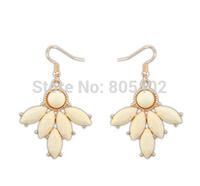 Nepal style retro resin creamy white  fishhook earring + teardrop beads + Free shipping!