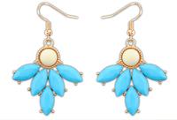 Nepal style retro resin blue  fishhook earring + teardrop beads + Free shipping!