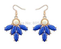 Nepal style retro resin sapphire blue  fishhook earring + teardrop beads + Free shipping!