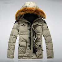D 2014 Winter New Fashion Men Down Jacket And Long Sections Down Coat Hooded Leisure Brands Battlefield Large Size XXXL A4
