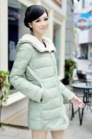 Parkas 2014 Winter Long Women Thickening Coat Fur Cotton Hooded Coats Slim Goose Down Parkas plus size PA-802