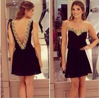 S-XL European and American big V halter sleeveless chiffon dress women's yarn stitching lace sexy dress#MD078