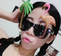 Free shipping Coconut tree and flamingo sunglasses party ideas Funny Glasses