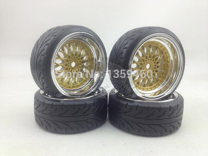 4pcs RC Hard Pattern Drift  Tires Tyre Wheel Rim Y12CG  6mm offset (Chro