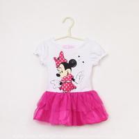 2014 Fashion Newborn Baby Girls Dresses Costume Minnie Mouse Cartoon Pink Kids Clothing Set Children Clothes Vestidos 1-6 Year