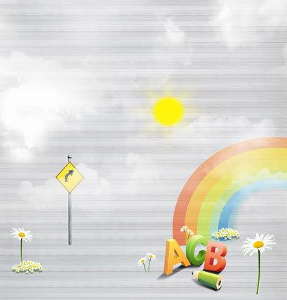 10x10FT Background Customize Photography Studio Backdrop ABC Rainbow Pencil Flowers Baby Kids Children Printing Vinyl 8x8 10x12(China (Mainland))