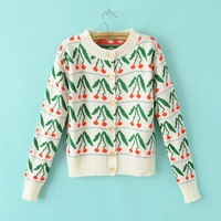 2014 Wholesale Women  new winter color striped long-sleeved knit cherries cardigan sweater