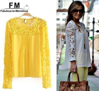 Blusas Femininas White Blue Yellow Women Casual  Lace Sleeve Chiffon Blouses Tops Gorgeous Shirt Long Sleeve Embroidery SS15B043
