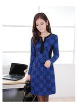 Dress girl casual dress New 2014 women autumn dress long-sleeve printed cotton party dress loose plus size winter dress