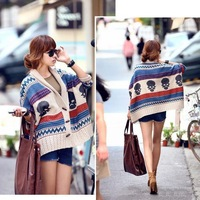 2014 European style striped cardigan sweater coat color  shawl cape skull ass