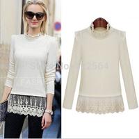 2014 fashion lace Slim white Blouse, blusas e camisas femininas, blusa de croche, blusas de renda, women blouse long sleeve