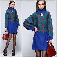 New Brand Fashion Knitted Winter Sweater Dress 2014 Autumn Women Batwing Sleeve Print Loose Cutout Turtleneck Wool Sweater Dress
