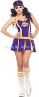 free shipping! sexy women's lakers cheerleader costume halloween costumes dancewear fancy dress with socks 1496