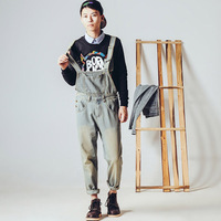 Men's vintage denim overalls Male fashion washed slim jumpsuits Casual jeans Bib pants Free shipping