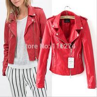 2014 Cheap Sexy Black PU Leather Women Short Jacket Hot Sale Locomotive Suit Long Sleeves Autumn Jackets In Stock MYK020