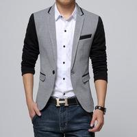 New Slim Fit Casual jacket Cotton Men Blazer Jacket Single Button Gray Mens Suit Jacket 2014 Autumn Patchwork Coat Male Suite