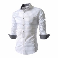 2014 Men's Spring New Fashion Luxury Trim Printing Plaid Shirt 3 Colors Free Shipping M-5XL 4[989]